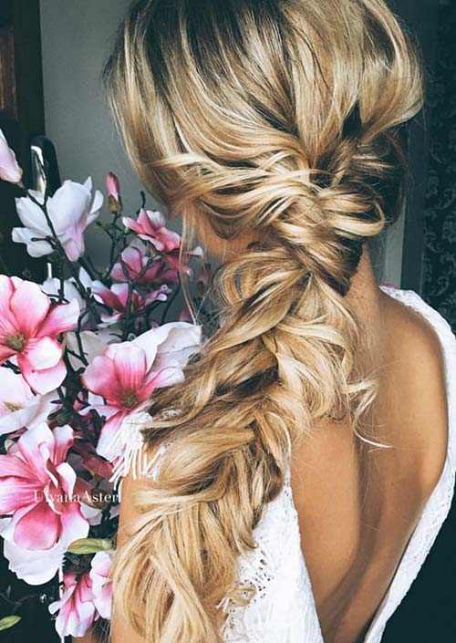 100 Trendy Long Hairstyles for Women: Messy Side Braid