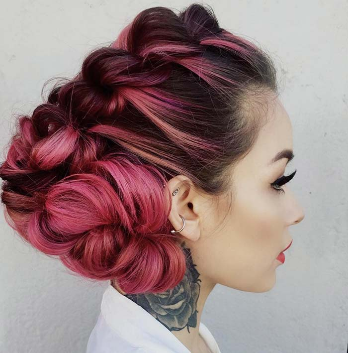 100 Trendy Long Hairstyles for Women: Angular Braided Updo