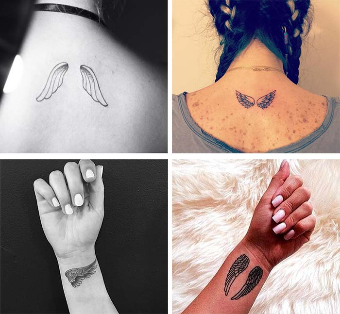 Cute Small Tattoos For Girls With Their Meanings: Tiny Angel Wings Tattoos