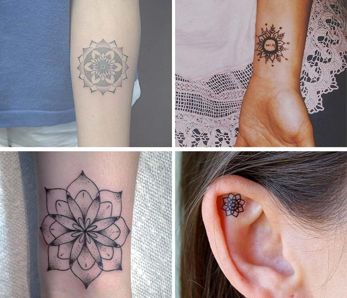Cute Small Tattoos For Girls With Their Meanings: Tiny Mandala Tattoos