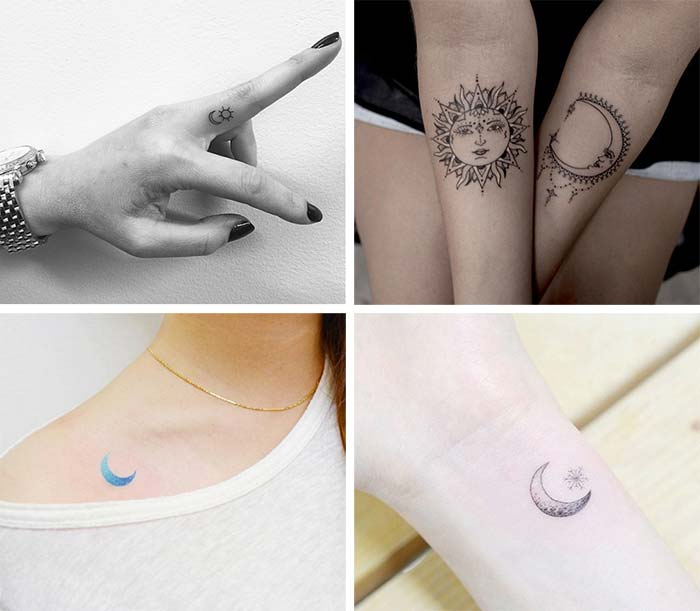Cute Small Tattoos For Girls With Their Meanings: Tiny Sun & Moon Tattoos