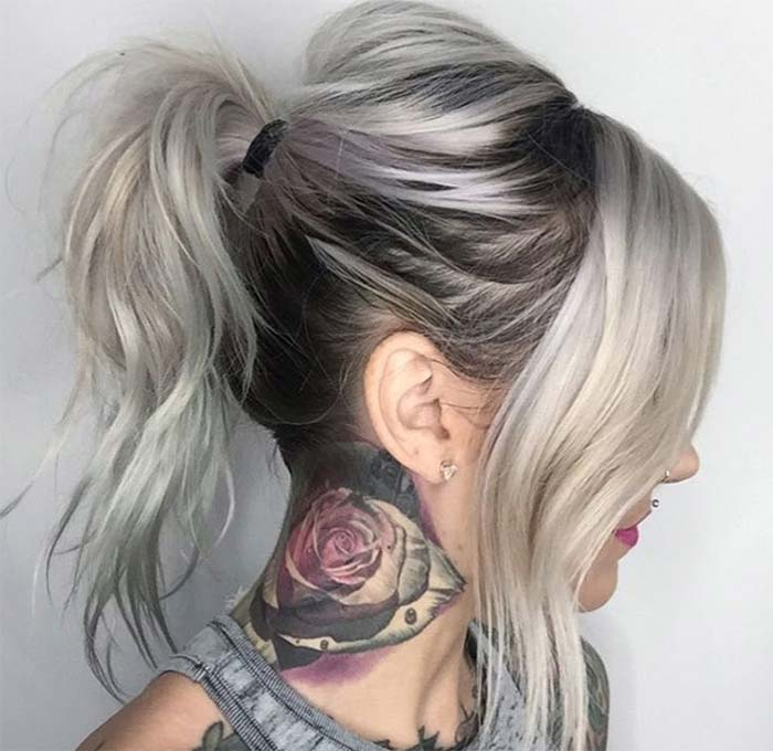 Granny Silver Grey Hair Color Ideas Messy Ponytail With Grown Out Roots
