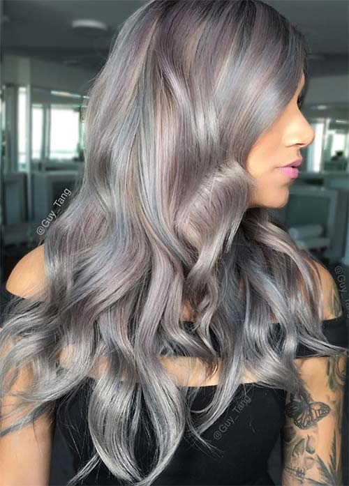 Granny Silver/ Grey Hair Color Ideas: Balayage Grey Hair