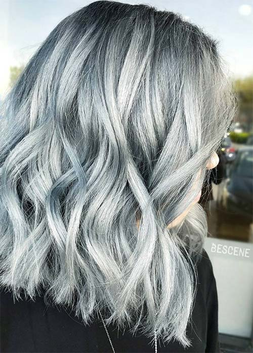 Granny Silver/ Grey Hair Color Ideas: Silver Denim Hair