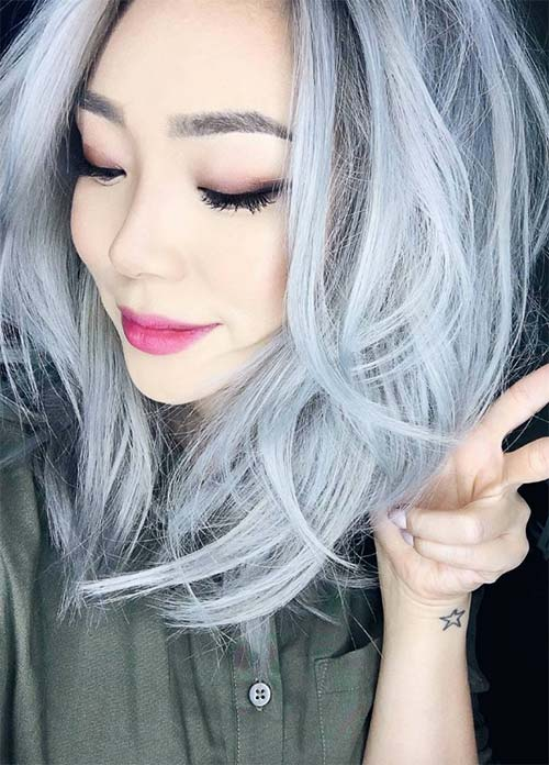Granny Silver/ Grey Hair Color Ideas: Pastel Ice Gray Hair