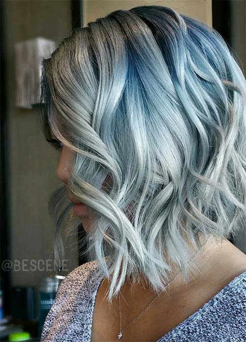 Granny Silver Grey Hair Color Ideas Gray Blue Messy