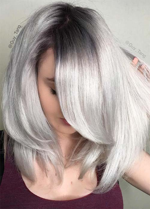 Granny Silver Grey Hair Color Ideas Metallic Gray With Grown Out Roots