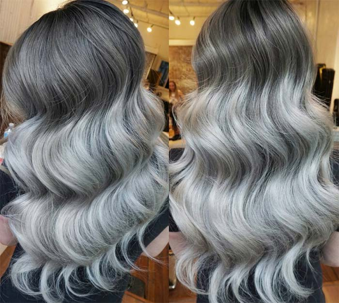 Granny Silver/ Grey Hair Color Ideas: Ombre Chrome Gray Hair
