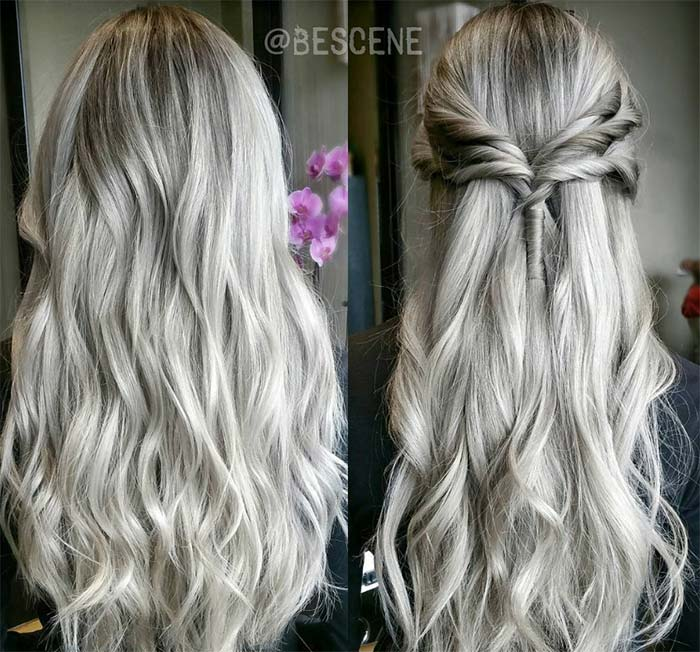 Granny Silver/ Grey Hair Color Ideas: Ash Grey Long Hair
