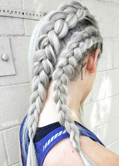 Granny Silver/ Grey Hair Color Ideas: Platinum Gray Braided Hair
