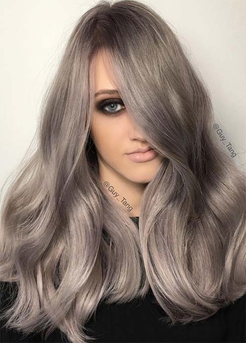 Granny Silver/ Grey Hair Color Ideas: Metallic Grey Hair