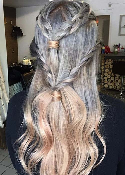 Granny Silver/ Grey Hair Color Ideas: Ombre Metallic Silver + Gold Rose Hair