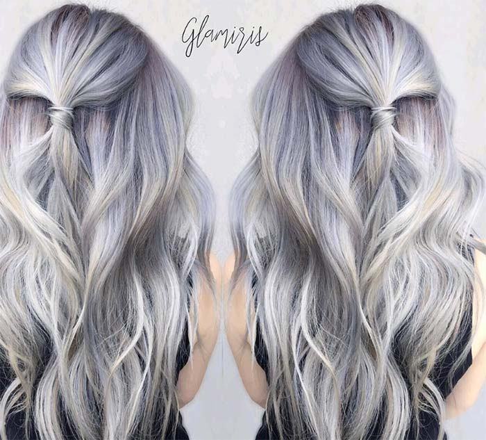 Granny Silver/ Grey Hair Color Ideas: Balayage Violet Silver Hair