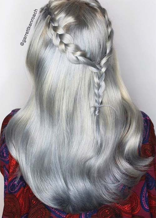Granny Silver/ Grey Hair Color Ideas: Metallic Silver Hair