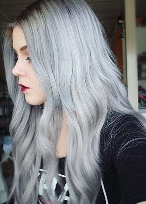Granny Silver/ Grey Hair Color Ideas: Bleached Soft Grey Hair