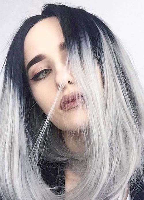 Granny Silver Grey Hair Color Ideas With Grown Out Roots