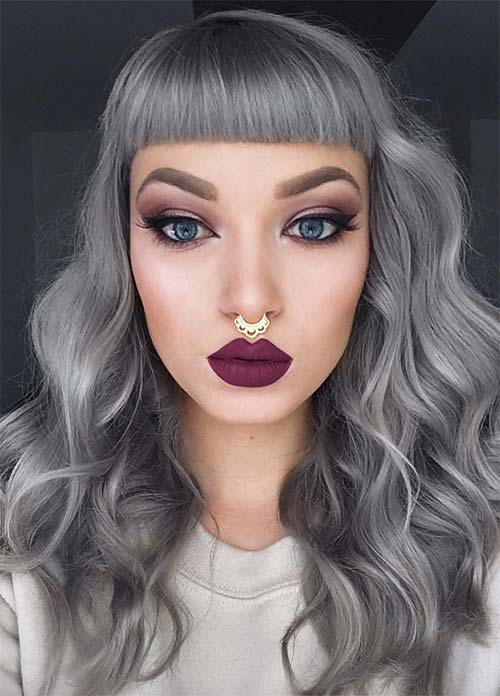 Granny Silver/ Grey Hair Color Ideas: Granny Hair With Short Bangs