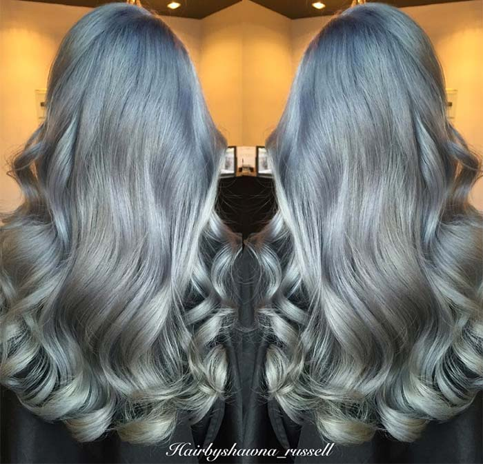 Granny Silver/ Grey Hair Color Ideas: Steel Grey Balayage Hairstyle