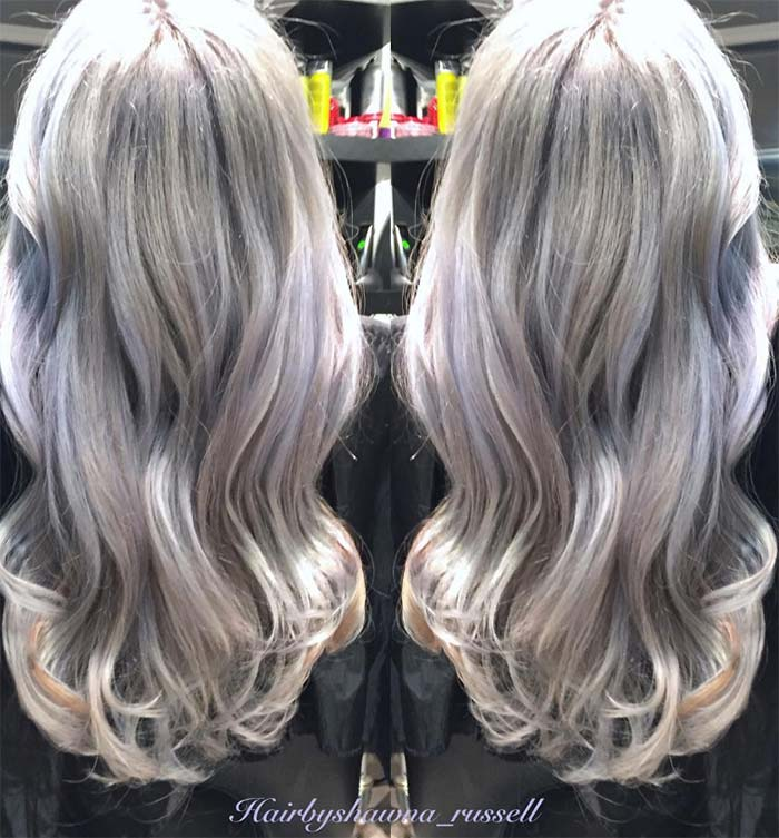 Granny Silver/ Grey Hair Color Ideas: Lavender Silver Wavy Hair