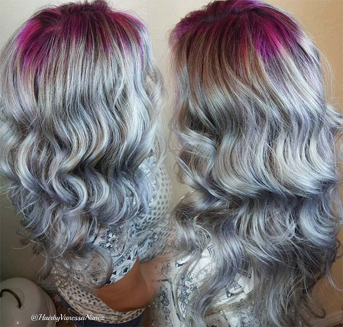 Granny Silver/ Grey Hair Color Ideas: Balayage Steel Grey Hair With Pink Roots