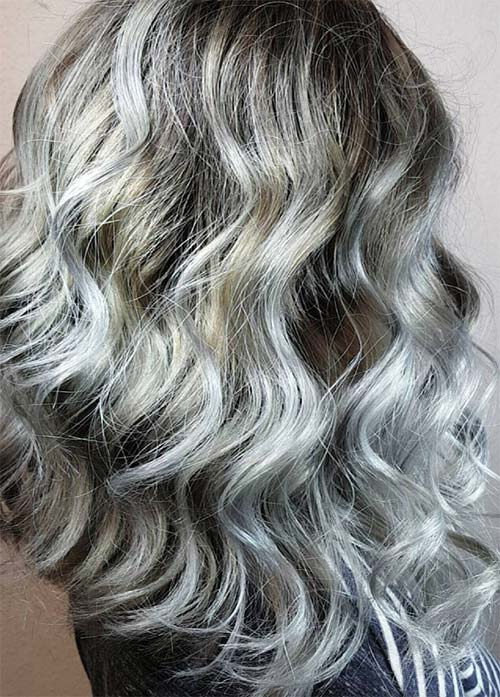 Granny Silver/ Grey Hair Color Ideas: Smokey Grey Hair