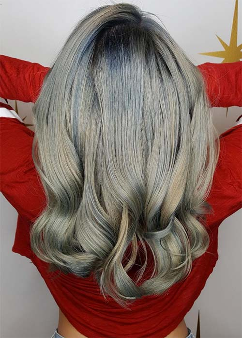 Granny Silver/ Grey Hair Color Ideas: Silver Balayage Hair