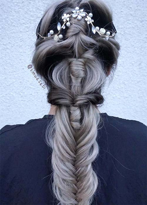 Granny Silver/ Grey Hair Color Ideas: Gradient Granny Braided Hair