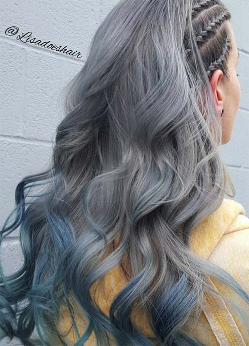 Granny Silver/ Grey Hair Color Ideas: Silver Hair With Blue Tips