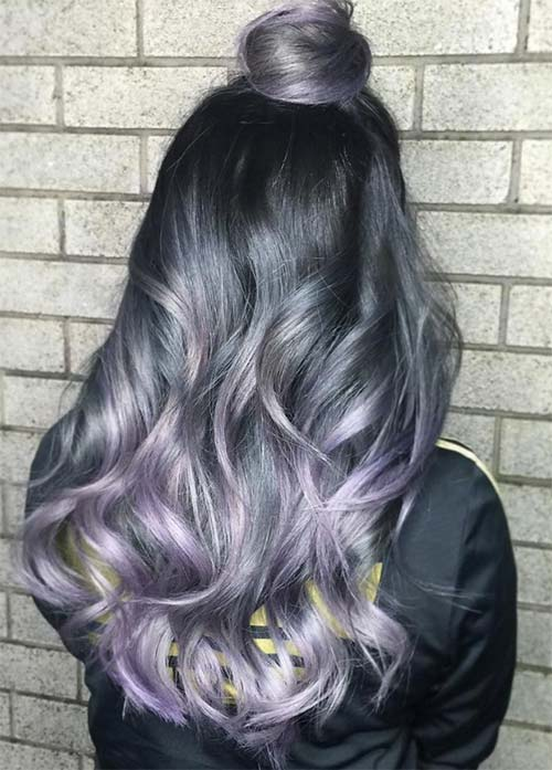 Granny Silver/ Grey Hair Color Ideas: Shimmering Dark Grey Hair With Lavender Tips