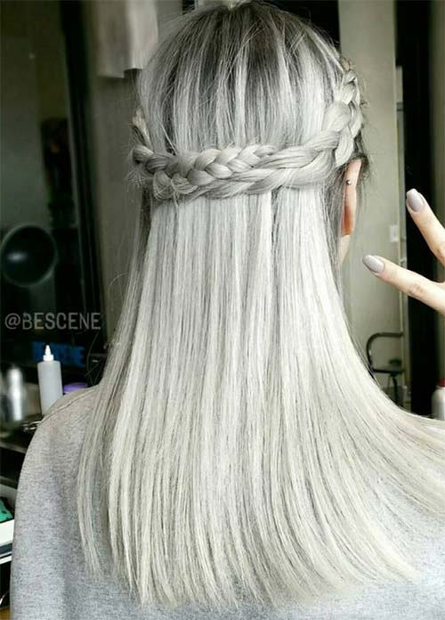 Granny Silver/ Grey Hair Color Ideas: Gray Hair With Crown Braid