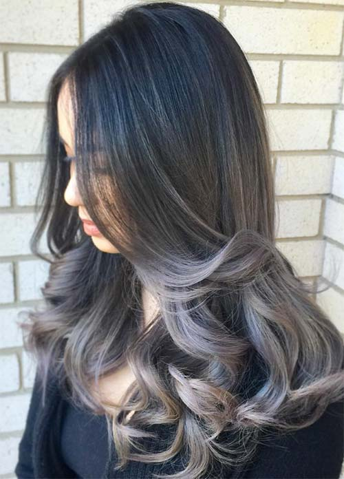 Granny Silver/ Grey Hair Color Ideas: Dark Grey Ombre Hair