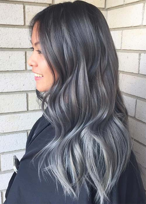 Granny Silver/ Grey Hair Color Ideas: Balayage Ombre Grey Hair