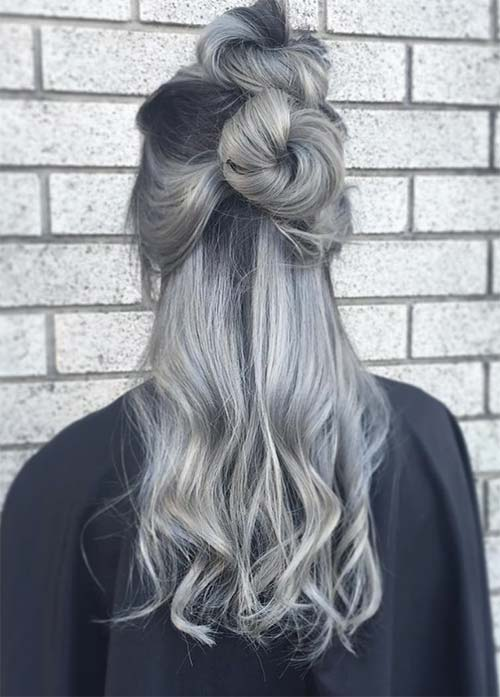 Granny Silver/ Grey Hair Color Ideas: Ombre Silver Grey Hair With Double Buns