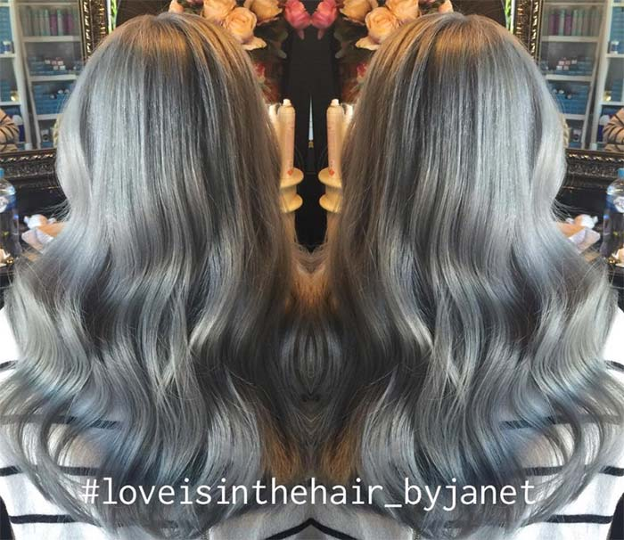 Granny Silver/ Grey Hair Color Ideas: Gradient Metallic Silver Hair