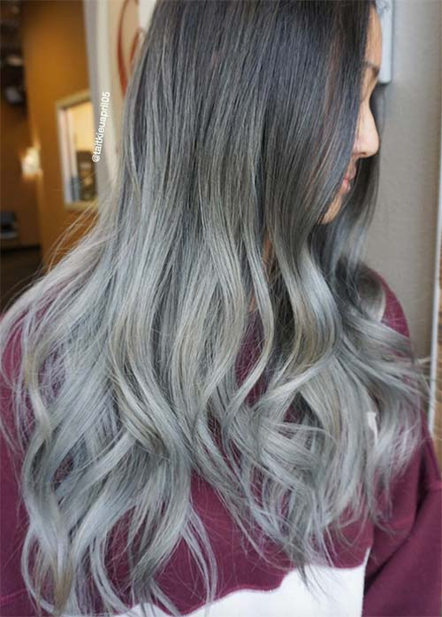 Granny Silver/ Grey Hair Color Ideas: Long Ombre Grey Hair