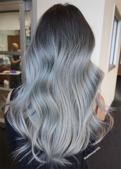 Granny Silver/ Grey Hair Color Ideas: Metallic Skyfall Silver Hair