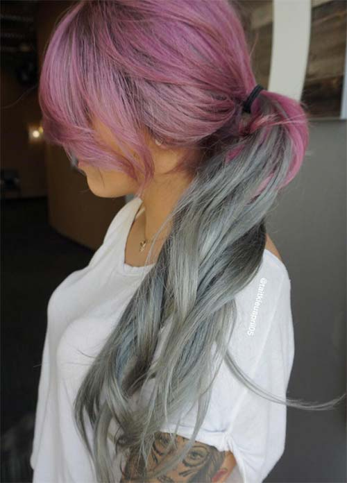 Granny Silver/ Grey Hair Color Ideas: Mauve Pink Hair With Silver Tips