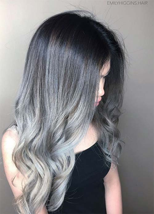 Granny Silver/ Grey Hair Color Ideas: Titanium Silver Balayage Hair