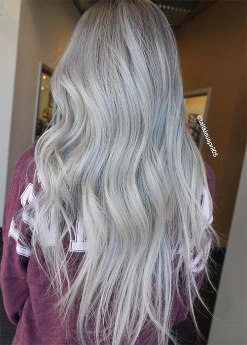 Granny Silver/ Grey Hair Color Ideas: Silver Melt Granny Hair
