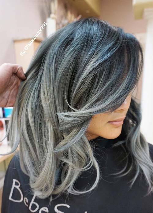 Granny Silver/ Grey Hair Color Ideas: Grey Hair Melting Into Blue