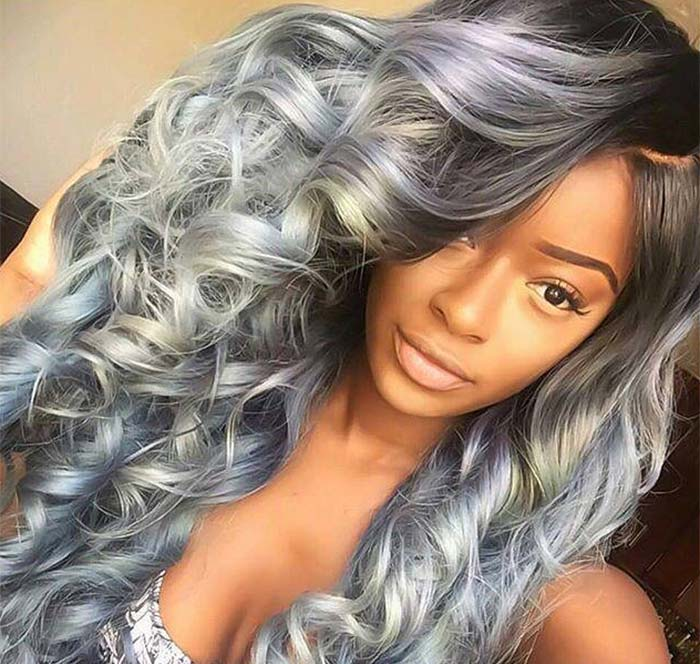 Granny Silver/ Grey Hair Color Ideas: Grey & Blue Granny Hair