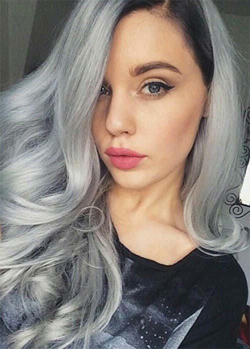 Granny Silver/ Grey Hair Color Ideas: Soft Silver Wavy Hair