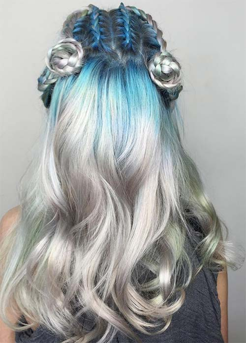 Granny Silver/ Grey Hair Color Ideas: Cerulean Blue Hair With Silver Tips
