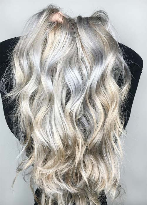Granny Silver/ Grey Hair Color Ideas: Icy Silver Balayage Hair