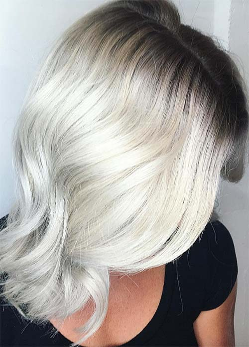 Granny Silver/ Grey Hair Color Ideas: Bleached Gray Hair With Dark Roots