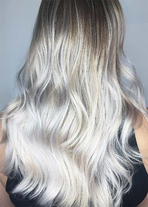 Granny Silver/ Grey Hair Color Ideas: Champagne Silver Hair