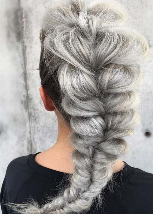 Granny Silver/ Grey Hair Color Ideas: Cloudy Silver French Braid