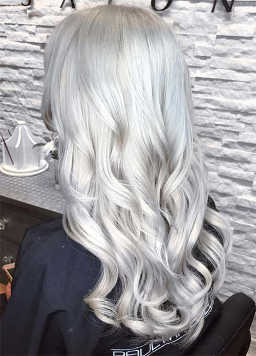 Granny Silver/ Grey Hair Color Ideas: Cascading Silver Curls