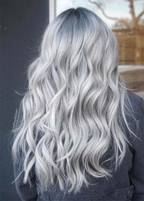 Granny Silver/ Grey Hair Color Ideas: Icy Road Curls