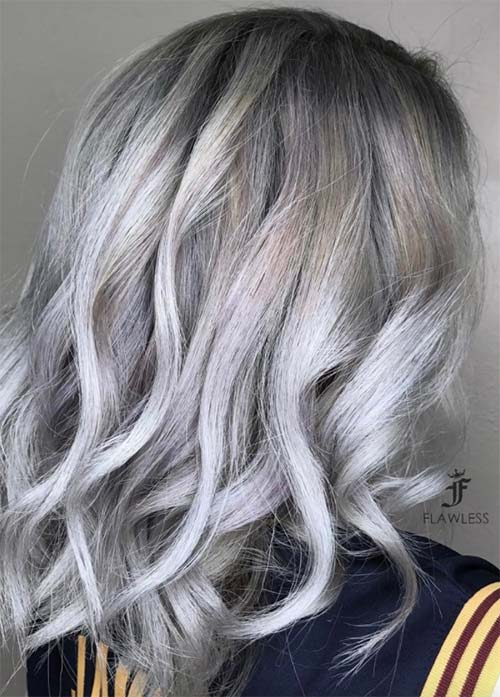 Granny Silver/ Grey Hair Color Ideas: Cool Silver Curls with Ash Roots